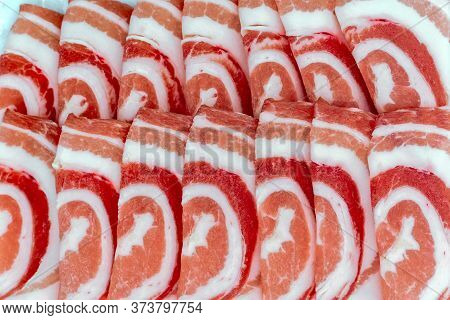 Sliced Frozen Pork Belly Meat For Cooking Or Yakinuku Or Shabu. It Is A Popular Korean And Japanese