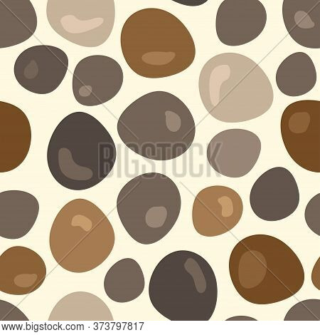 Seamless Pattern With Abstract Pebbles On A Light Background. Colored Stones. Modern Design For Pack