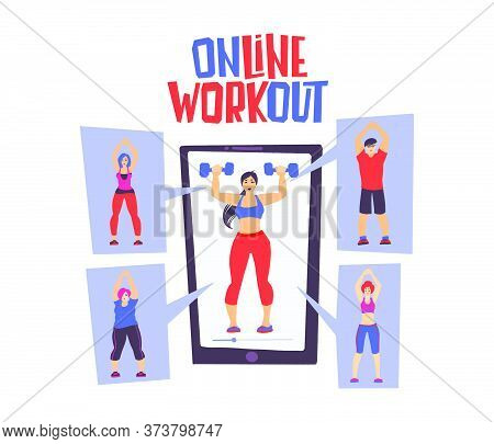 Fitness Online Workout Concept. Home Exercise. How To Keep Fit Indoors.