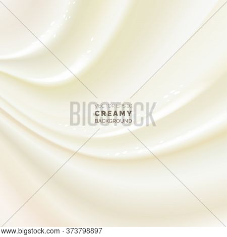 Soft Creamy Background With Light Swirls And Curves. Creamy Swirl. Neutral Silk Or Satin Fabric Back