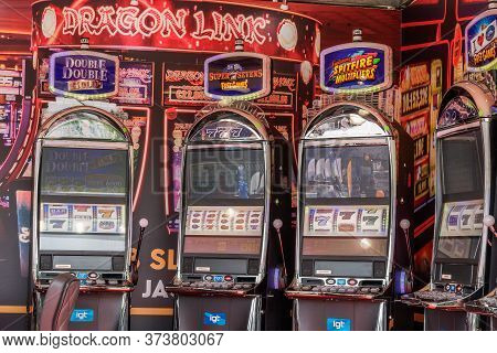 Thessaloniki, Greece - September 8 2019: Games Area Outdoors Exhibition Of Regency Casino With Logo.