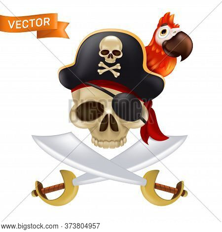 A Pirate Skull With Crossed Swords Or Sabres In A Captain's Cap With A Red Parrot. Funny Vector Illu