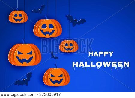 Happy Halloween Halloween classic blue background with pumpkins and bats. Halloween classic blue background with pumpkins and bats in paper style.Happy Halloween Halloween classic blue background with pumpkins and bats in paper style, 3D. Happy Halloween