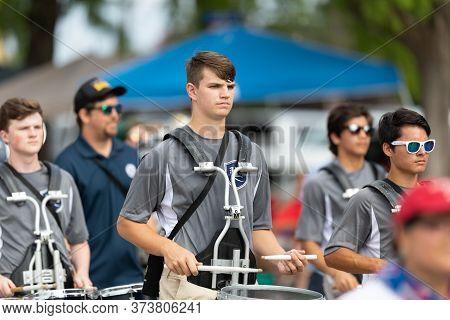 Arlington, Texas, Usa - July 4, 2019: Arlington 4th Of July Parade, Members Of Lamar High School Vik