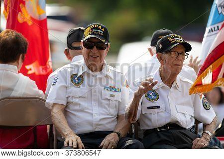 Arlington, Texas, Usa - July 4, 2019: Arlington 4th Of July Parade, Korean War Veterans From The Uni