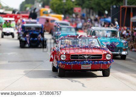 Arlington, Texas, Usa - July 4, 2019: Arlington 4th Of July Parade, A Ford, Mustang, Leading A Group