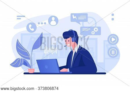 Call Center Operator. Cartoon Character With Headset At The Desk Working In Office, Customer Support