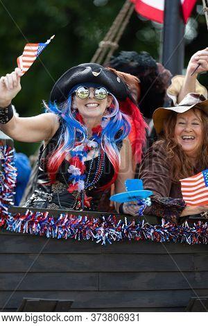 Arlington, Texas, Usa - July 4, 2019: Arlington 4th Of July Parade, Float In Shape Of A Pirate Ship,