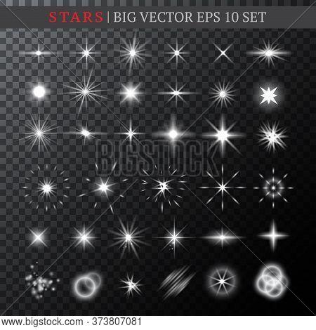 Big Set Of Half-transparent Various Shining White Stars. Stars, Bursts, And Lights Of Various Shapes