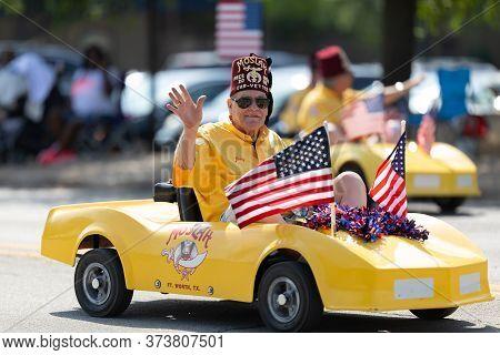 Arlington, Texas, Usa - July 4, 2019: Arlington 4th Of July Parade, Members Of Moslah, Riding Minica