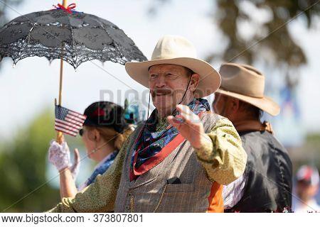 Arlington, Texas, Usa - July 4, 2019: Arlington 4th Of July Parade, Man Wearing Traditional Clothing