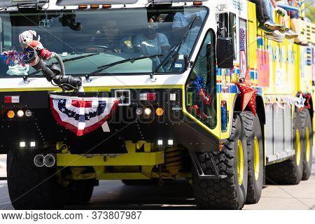 Arlington, Texas, Usa - July 4, 2019: Arlington 4th Of July Parade, Members Of The Department Of Pub