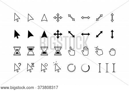 Cursor Icons. Classic Pointer Arrows, Hourglass And Hands With Click Hold And Point State, Computer