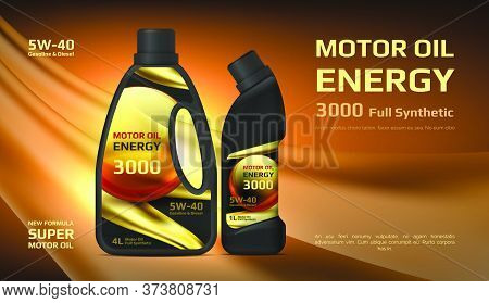 Engine Oil. Vector Automotive Lubricant Material Advertising With Plastic Jar And Oil Drops. Vector
