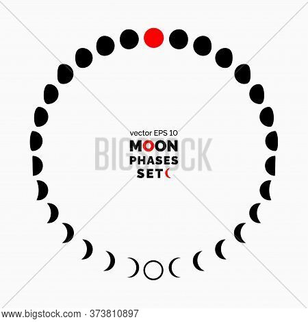 Crescent And The Moon Phases. Set Of Moon Phases. Vector Illustration For Your Graphic Design.