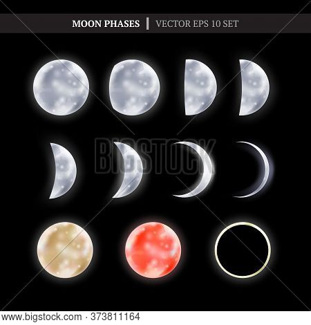 Crescent And The Moon Phases In The Night Sky. Set Of Shiny Moon Phases. Vector Illustration For You