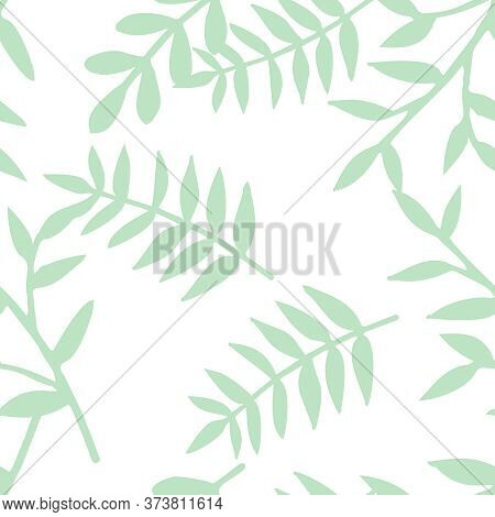 Tile Tropical Vector Pattern With Green Exotic Leaves Or Seamless Decoration Wallpaper