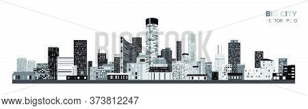 Horizontal City Scape With Black And White Various Buildings With Little Windows. City Scape Outline