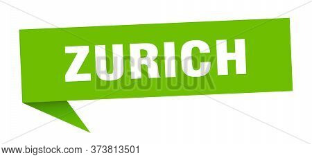 Zurich Sticker. Green Zurich Signpost Pointer Sign