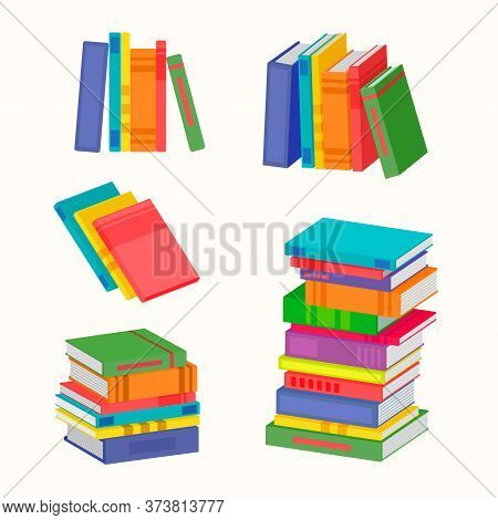 Set Of Various Piles Of Colorful Books. The Big Stack Of Colorful Books. Vector Illustration For You