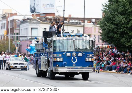 Indianapolis, Indiana, Usa - September 28, 2019: The Circle City Classic Parade, A Firetruck Painted
