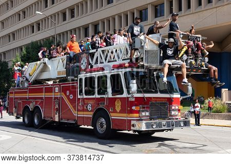 Indianapolis, Indiana, Usa - September 28, 2019: The Circle City Classic Parade, Firetruck Transport