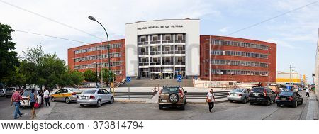 Ciudad Victoria, Tamaulipas, Mexico - July 2, 2019: The Federal Palace Of Ciudad Victoria, Governmen