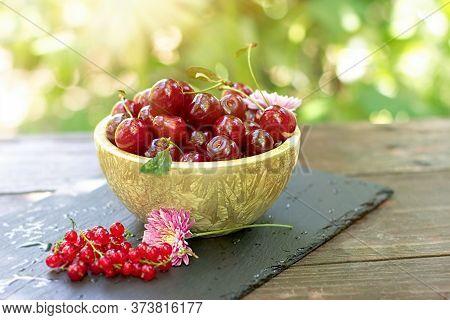 Sour Cherries In Bowl, Fresh Organic Cherry In Healthy Eating