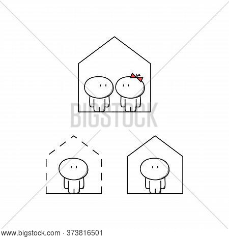 Cute Man And Woman At Home. House Purchase And Apartment Rent, Project And Building Plan, Living Alo