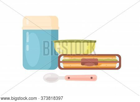 Colorful Lunch Boxes With Tasty Fresh Food Vector Flat Illustration. Containers And Vacuum Flask For