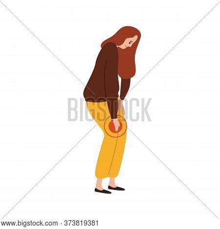 Sad Female Feeling Pain In Knee Vector Flat Illustration. Upset Woman Having Problem With Legs Suffe