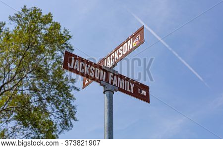 Gary, Indiana, Usa -  July 27, 2019: The Street Sign Named After The Jackson Family
