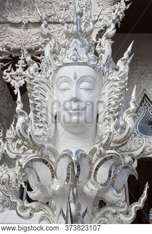 Chiang Rai, Thailand - November 15, 2019: Exterior Detail Of Famous Wat Rong Khun, Or White Temple.