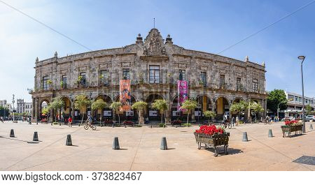Guadalajara, Jalisco, Mexico - November 23, 2019: People Going By The Municipal Government Palce, On