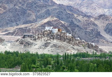 Thiksey Gompa In Ladakh, Jammu And Kashmir, India. The Monastery Is Located In The Indus Valley. It