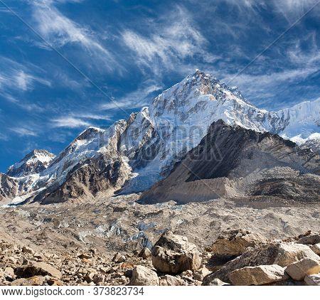 Everest And Nuptse Mountain From Kala Patthar Peak In Sagarmatha National Park, Everest Region, Nepa