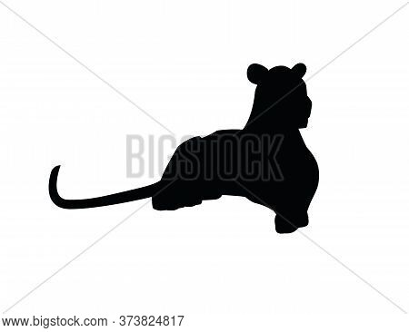 Black Silhouette Adult Lioness Lying On The Ground African Wild Predatory Cat Female Lion Cartoon Cu