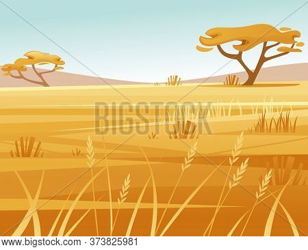 Landscape Savanna Background With Clear Sky Yellow Grass And Tree Flat Vector Illustration Cartoon S