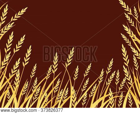 Yellow African Savanna Grass Flat Vector Illustration On Brown Background