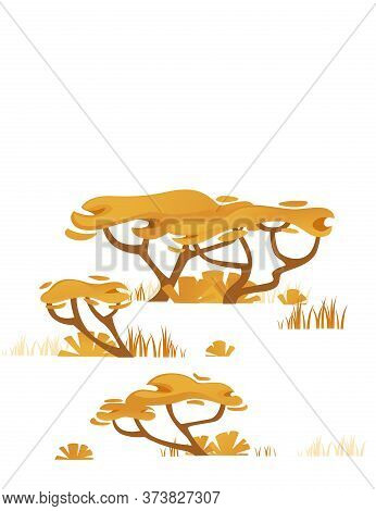 Set Of Yellow Savanna Flora Plants Trees Grass And Bushes Flat Vector Illustration Isolated On White