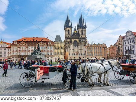 Old Town Square In Stare Mesto, Prague, Czech Republic - May 2019