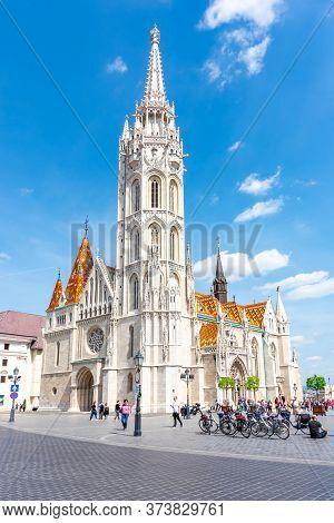 Budapest, Hungary - May 2018: Matthias Church In Fisherman Bastion