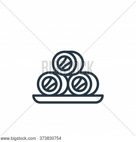 roll fish icon isolated on white background from seafood collection. roll fish icon trendy and moder