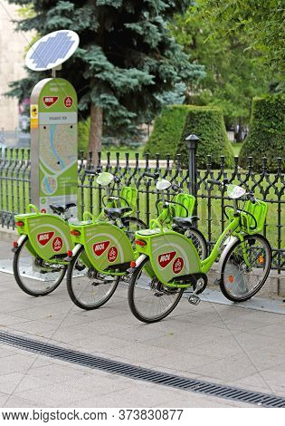 Budapest, Hungary - July 13, 2015: Bicycle Sharing Service Mol Bubi Rental At Park In Budapest, Hung