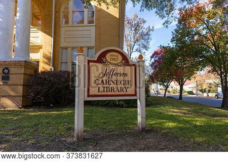 Jefferson, Texas, Usa - November 16, 2019: The Sign Of The Old Jefferson Carnegie Library
