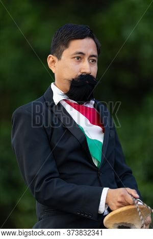 Matamoros, Tamaulipas, Mexico - November 20, 2019: The Mexican Revolution Day Parade, Man Dress Up A