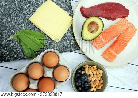 Low Carb Ketogenic Gluten Free Paleo Style Diet Protein Based Meat Fish Dairy Cheese Eggs Veg Bluebe