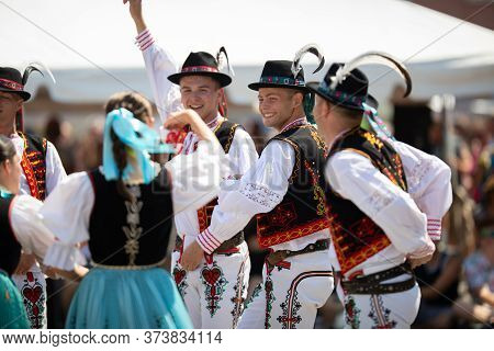 Whiting, Indiana, Usa - July 27, 2019: Pierogi Fest, Slovakian Men Wearing Traditional Clothing Perf
