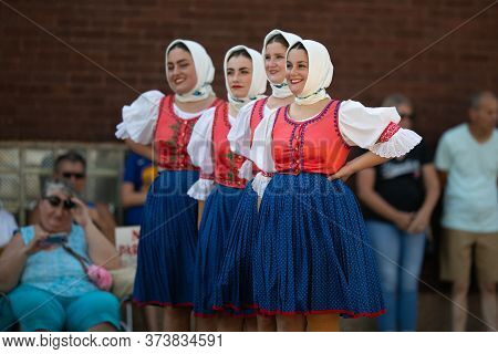 Whiting, Indiana, Usa - July 27, 2019: Pierogi Fest, Slovakian Ladies Waiting For Their Turn To Danc