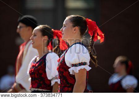 Whiting, Indiana, Usa - July 27, 2019: Pierogi Fest, Slovakian Women Wearing Traditional Clothing Da